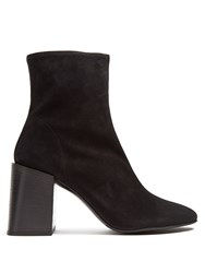 Acne Studios Saul Square Heel Suede Ankle Boots Black