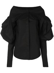Vera Wang Puff Sleeve Shirt Black