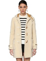 Saint Laurent Montgomery Hooded Shearling Coat Ecru