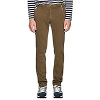 Barneys New York Torino Cotton Slim Trousers Olive