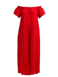 Mara Hoffman Blanche Wide Leg Cotton Jumpsuit Red