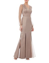 Kay Unger Satin Mesh Accented Gown