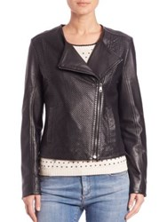 Max Mara Dalida Laser Cut Leather Moto Jacket
