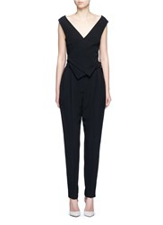 Lanvin Buckled Waist Tailored Suiting Jumpsuit Black