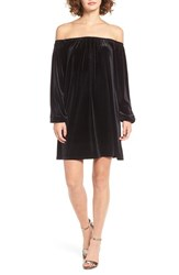 One Clothing Women's Off The Shoulder Velvet Swing Dress