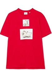 Burberry Oversized Printed Cotton Jersey T Shirt Red