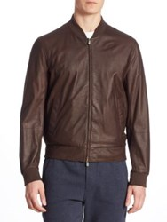 Brunello Cucinelli Leather Bomber Jacket Brown