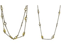 Kendra Scott Augie Necklace Antique Brass Clear Iridescent Glass Necklace Gold