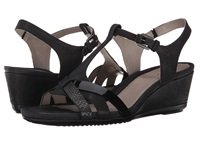 Ecco Touch 45 T Strap Sandal Black Black Women's Wedge Shoes