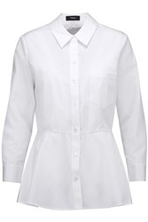 Theory Eyodis Cotton Peplum Shirt White