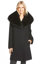 Fleurette Loro Piana Wool A Line Coat With Genuine Fox Fur Collar Black