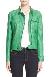 Women's Tomas Maier Nappa Leather Moto Jacket