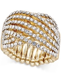 Inc International Concepts Gold Tone Interlocking Crystal Stretch Ring Only At Macy's