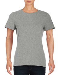 Lord And Taylor Petite Solid Short Sleeve T Shirt Heather Grey