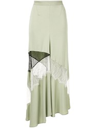 Christopher Esber Contrast Lace Flare Skirt Green