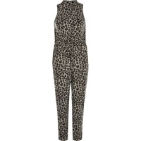 River Island Womens Grey Animal Print Cosy Jumpsuit