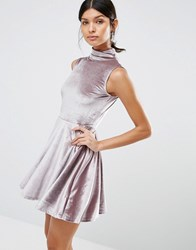 Love And Other Things High Neck Velvet Skater Dress Light Purple