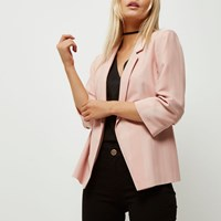 River Island Womens Petite Pink Ruched Sleeve Stripe Blazer