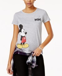 Hybrid Juniors' Disney Mickey Mouse Graphic T Shirt Heather Grey
