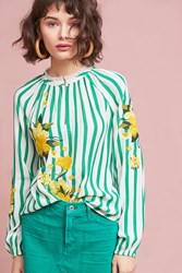 Akemi Kin Embroidered And Striped Blouse Green Motif