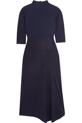 Atlein Ribbed Cotton Paneled Jersey Midi Dress Navy