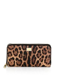 Dolce And Gabbana Crespo Leopard Leather Continental Wallet
