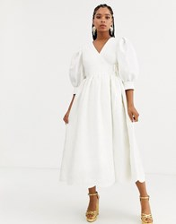 Sister Jane Dream Midaxi Wrap Dress With Volume Sleeves And Scallop Hem In Floal Jacquard White