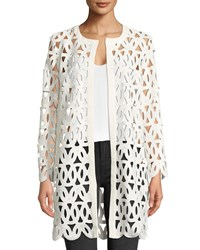 Milly Long Sleeve Open Front Sheer Lace Embroidered Coat Ivory