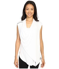Zobha Sleeveless Asymmetrical Drape Front Flyaway Bright White Women's Sleeveless