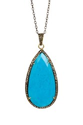 Turquoise And Diamond Teardrop Pendant Necklace No Color