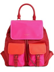 Tory Burch Perry Color Block Nylon Backpack Red