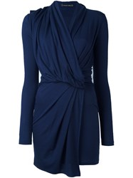 Plein Sud Jeans Long Sleeve Wrap Dress Blue
