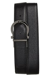 Salvatore Ferragamo Men's Big And Tall Reversible Calfskin Belt Black Hickory