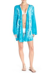 Women's Green Dragon Lace Inset Circle Tie Dye Kimono Cover Up