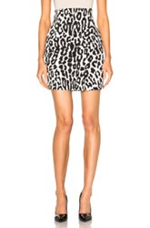 Alexandre Vauthier Leopard Crepe Skirt In White Animal Print White Animal Print
