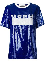 Msgm Sequinned Logo T Shirt Women Cotton Polyamide Polyester 40 Blue