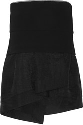 Donna Karan Wool Blend Crepe And Matelasse Satin Peplum Top Black
