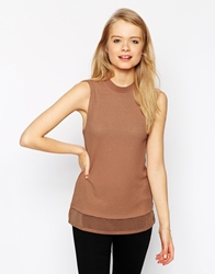 Asos Tunic Top In Rib With Woven Hem Camel