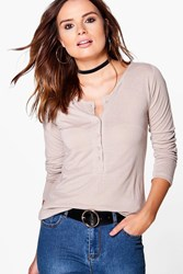 Boohoo Jessica Button Up Long Sleeved T Shirt Taupe