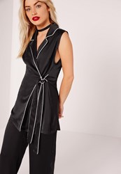 Missguided Contrast Piped Sleeveless Long Waistcoat Black Black