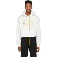 Pyer Moss White Cropped Classic Logo Hoodie