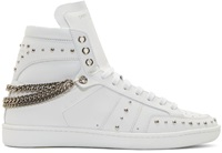 Saint Laurent White Studded Court Classic Sneakers
