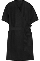 The Row Adnon Wool Blend Wrap Coat Black