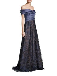 Rene Ruiz Metallic Off The Shoulder Gown Navy
