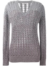 Marco De Vincenzo V Neck Open Knit Jumper Grey