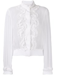 Genny Ruffle Front Blouse White