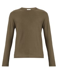 Christophe Lemaire Long Sleeved Cotton Blend Sweater Dark Grey