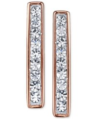 Unwritten Cubic Zironcia Linear Bar Drop Earrings In Rose Gold Flashed Sterling Silver