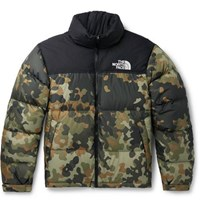 The North Face 1996 Nuptse Camouflage Print Quilted Ripstop Down Jacket Army Green