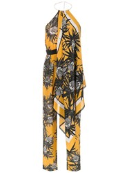 Andrea Marques Silk Printed Jumpsuit Yellow